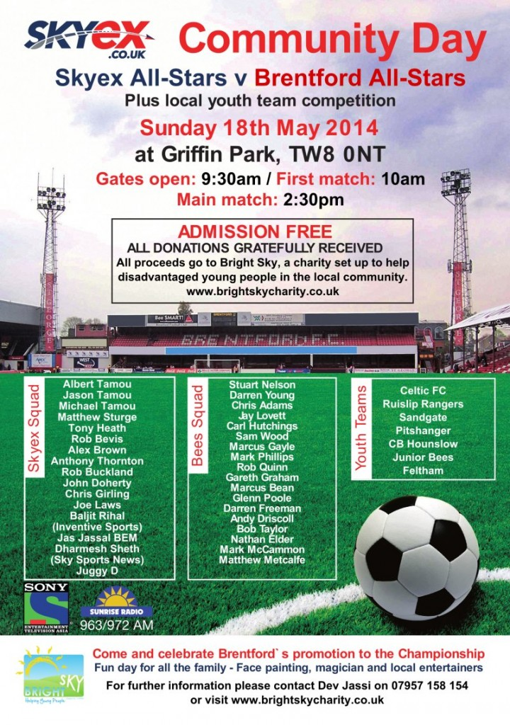 Poster advertising the 2014 Skyex Community Day at Brentford FC, Griffin Park